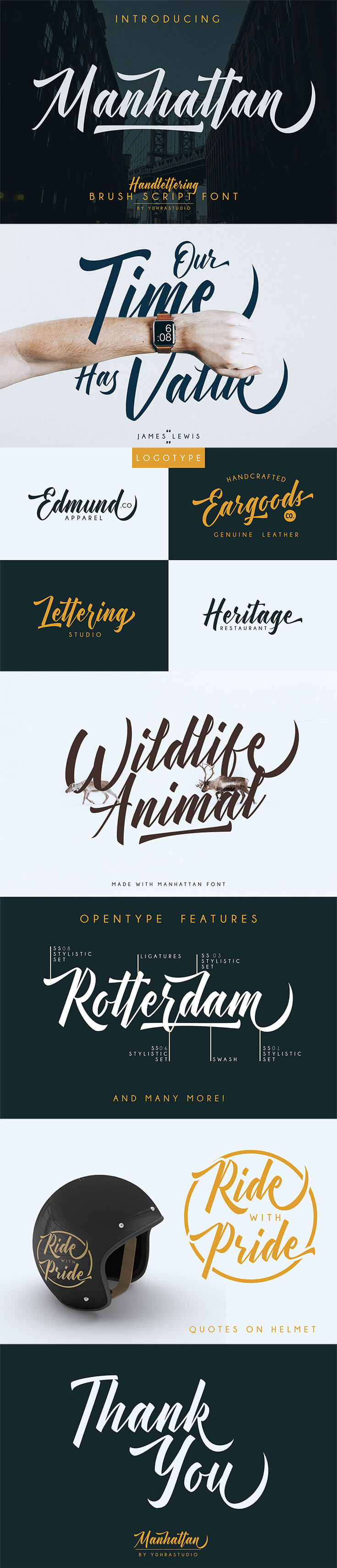 Free Manhattan #Brush #Script #Fontis a modern hand lettering font. We give you bonus a swash to make your design look more awesome with this font.Manhattan is great for Logotype, Branding Design, Logo Design, Digital Lettering Arts, T-Shirt/Apparel, Poster, Magazine, Signs, Advertising Design, and any hand-lettered needs.