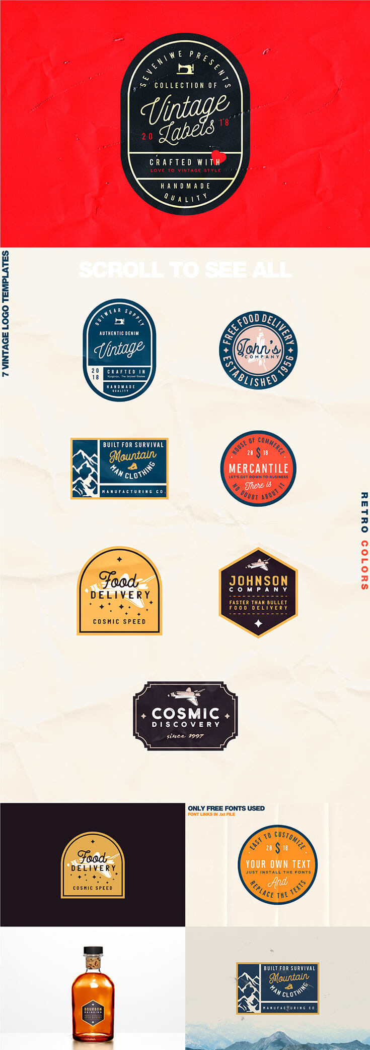Free #Vintage #Label #Template Kit includes 7 Editable Vintage Logo Templates coming from Roman Paslavskiy. The labels are vector format which means that you may scale logos without losing sharpness. You can use these labels for any branding projects, social media, typography design, apparel design, t-shirt prints, restaurant menus, labels, greeting cards, etc.