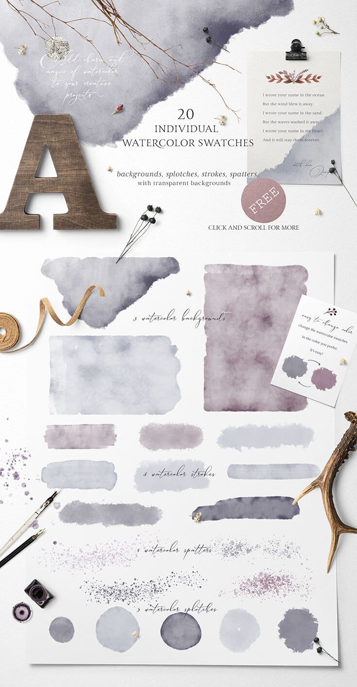 Free #Watercolor #Swatches #Pack is a beautiful pack of watercolor coming from Tatiana Lyubimova. This set features 20 individual watercolor swatches in PNG format with transparent backgrounds. It will add charm and magic to your creative projects. This will works wonderfully for elegant wedding designs, monograms, cards, invitation, branding, logo design, greeting cards, decorations, blog or wed design and much more!