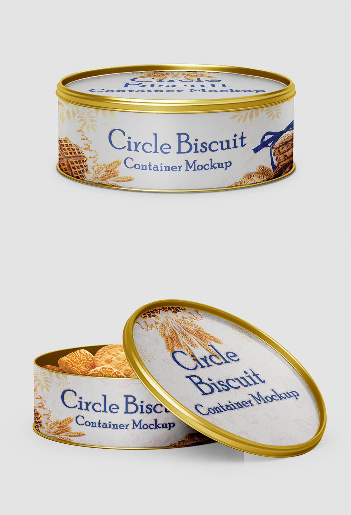 Free Circle Biscuit and Cookies Tin Container Mockups