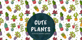 Free Cute Plants Vector Seamless Pattern