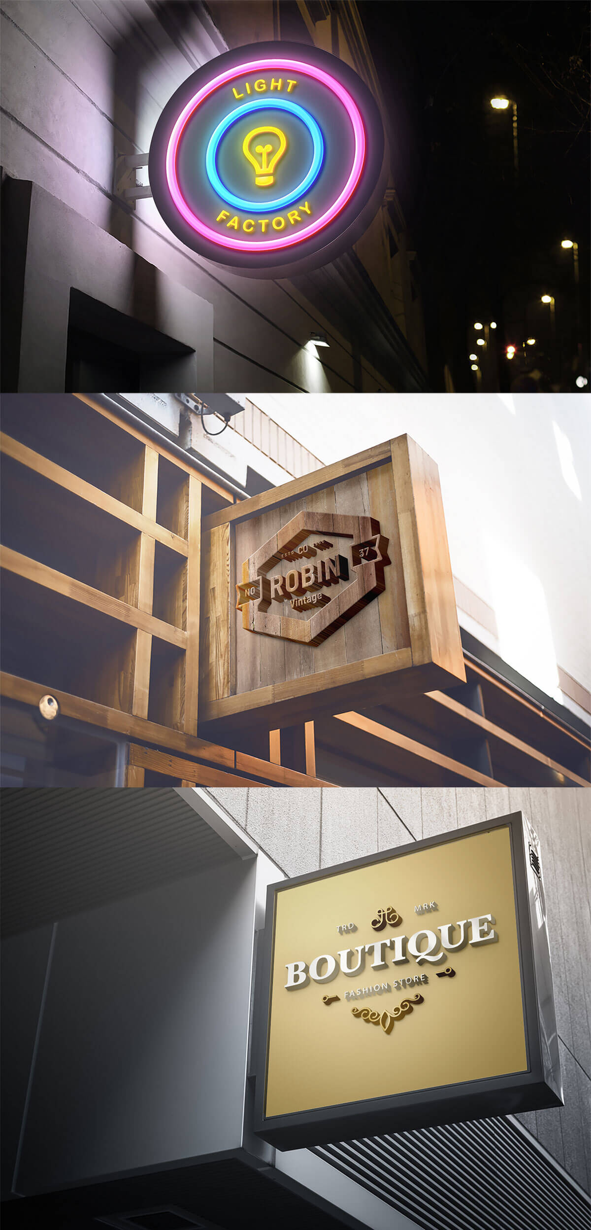 Free Outdoor Wall Mounted Signboard Mockups