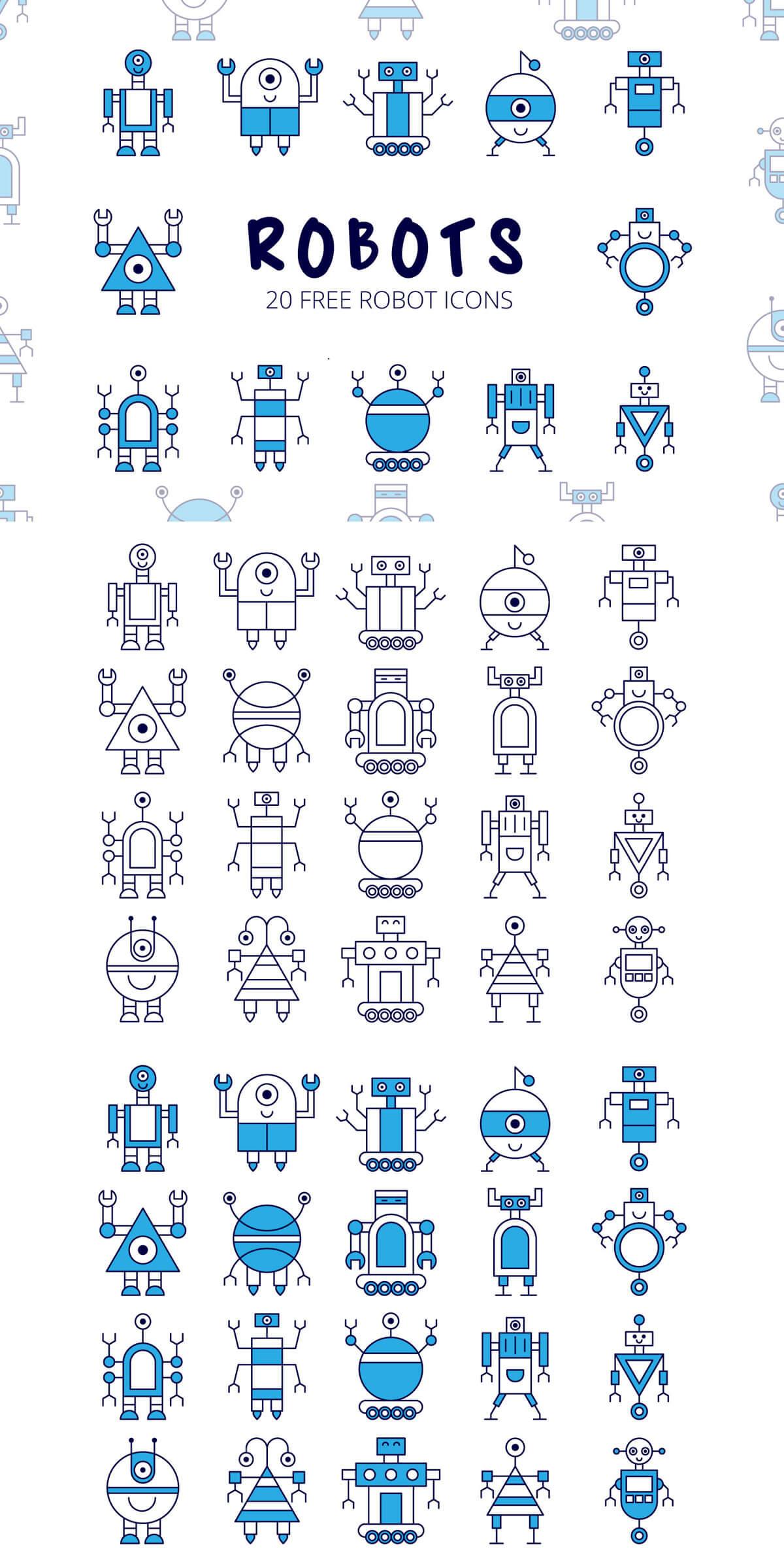 Free Robot Vector Icon Set