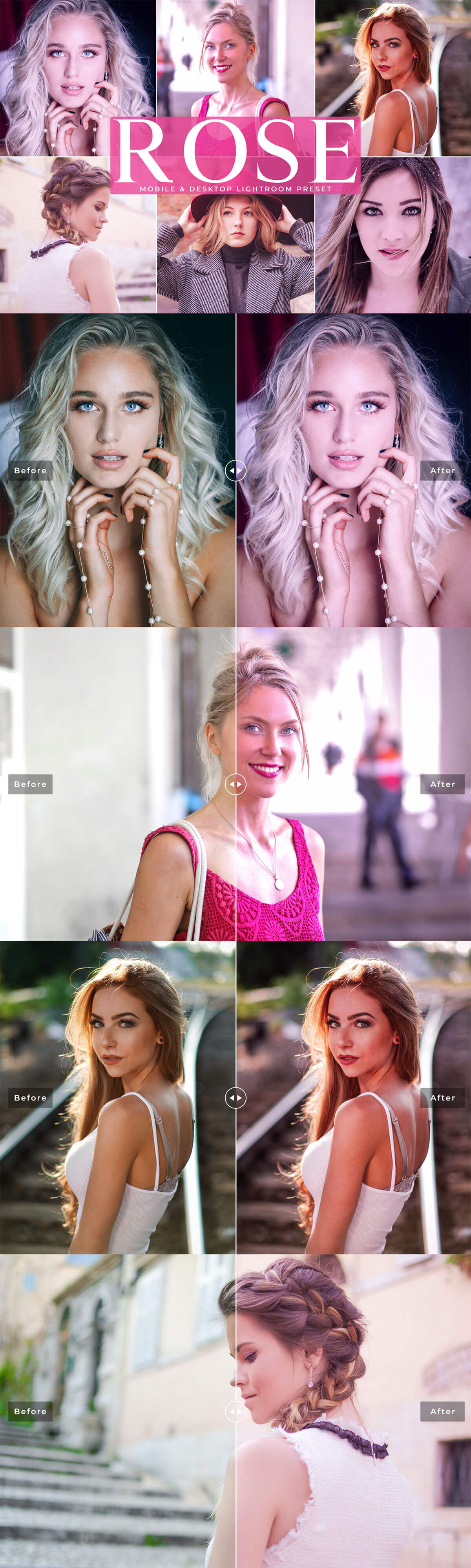 Free Rose Mobile Lightroom Presets