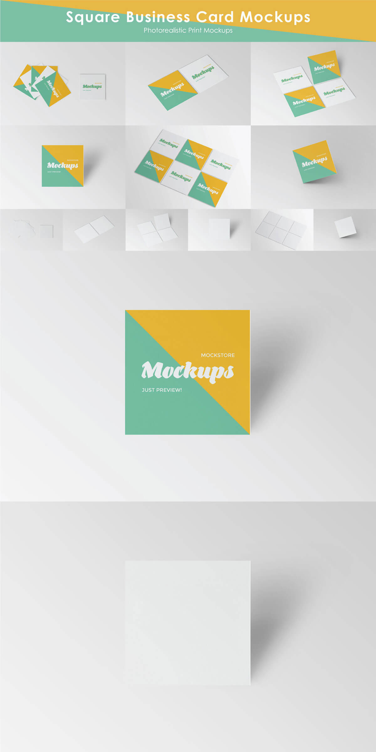 Free Square Business Card Mockups