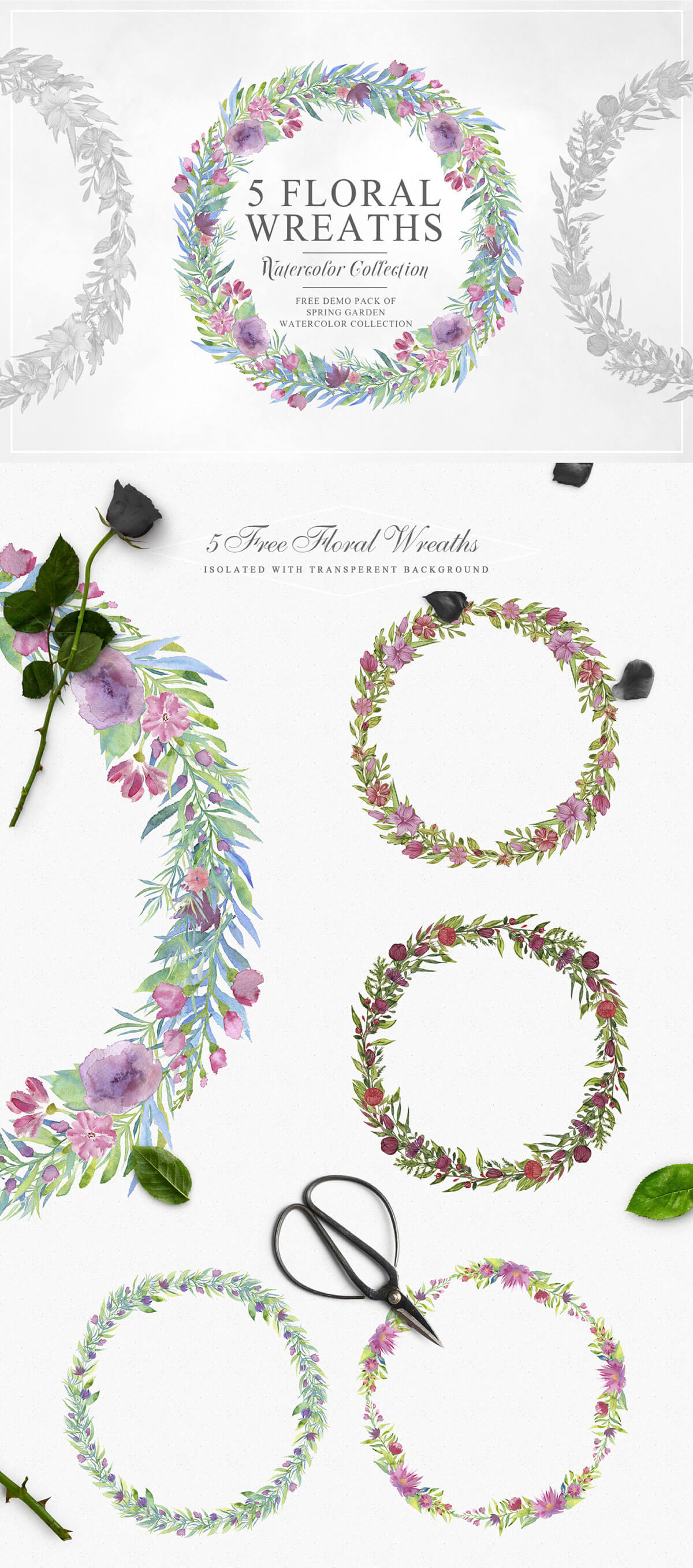 5 Free Beautiful Watercolor Floral Wreath