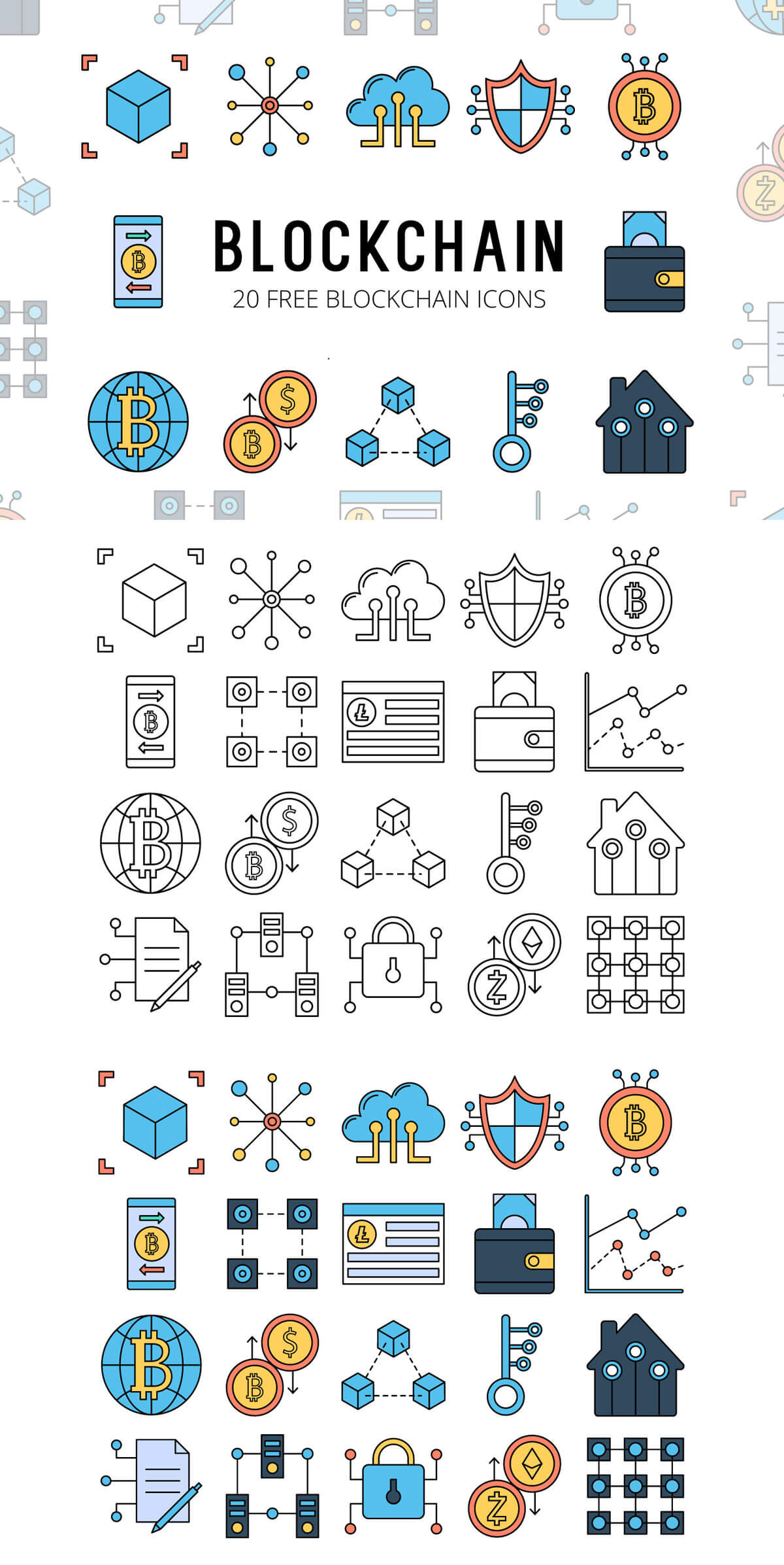 Free Blockchain Vector Icon Set
