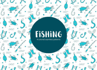 Free Fishing Vector Seamless Pattern