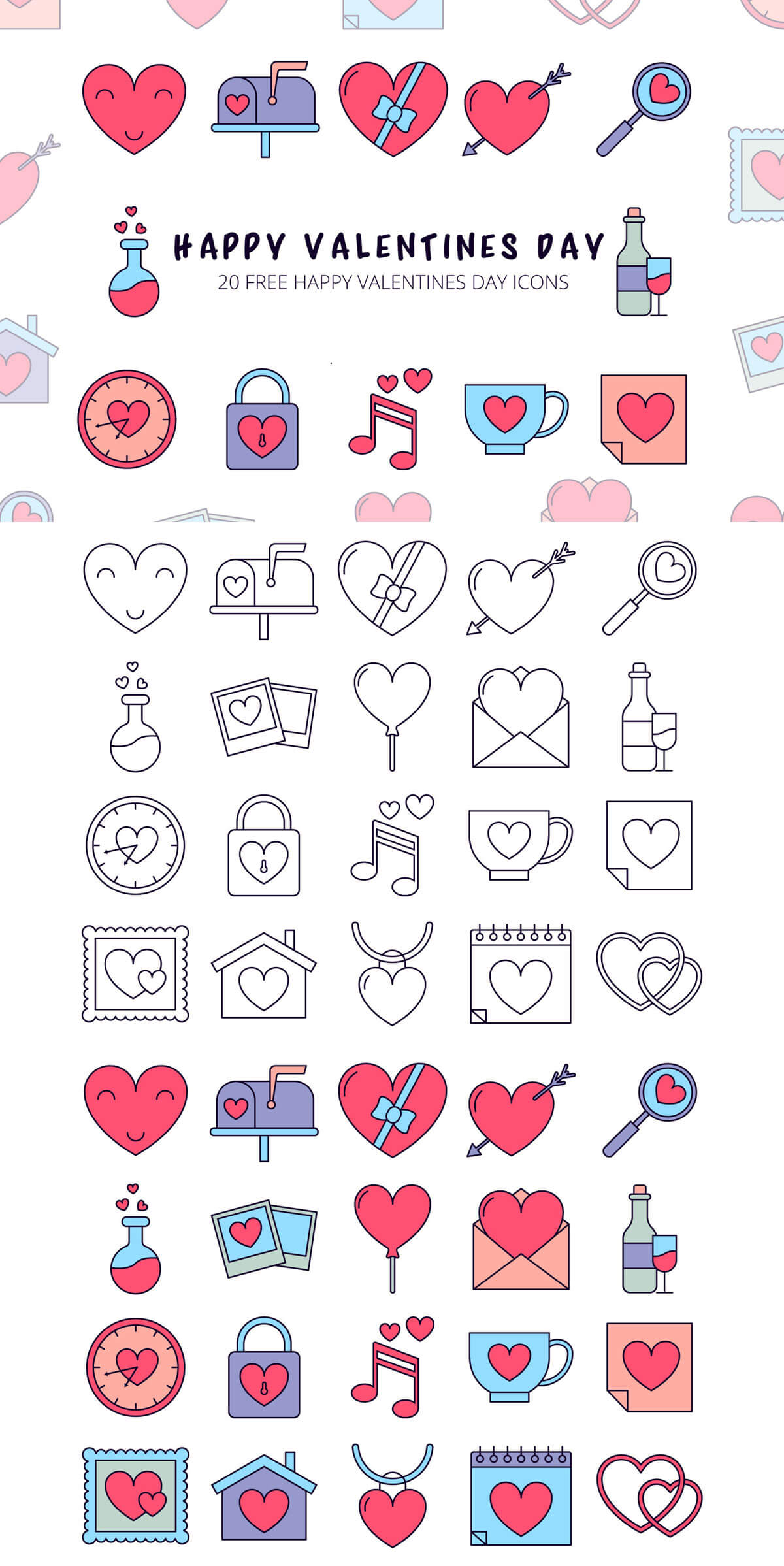 Free Happy Valentines Day Vector Icon Set
