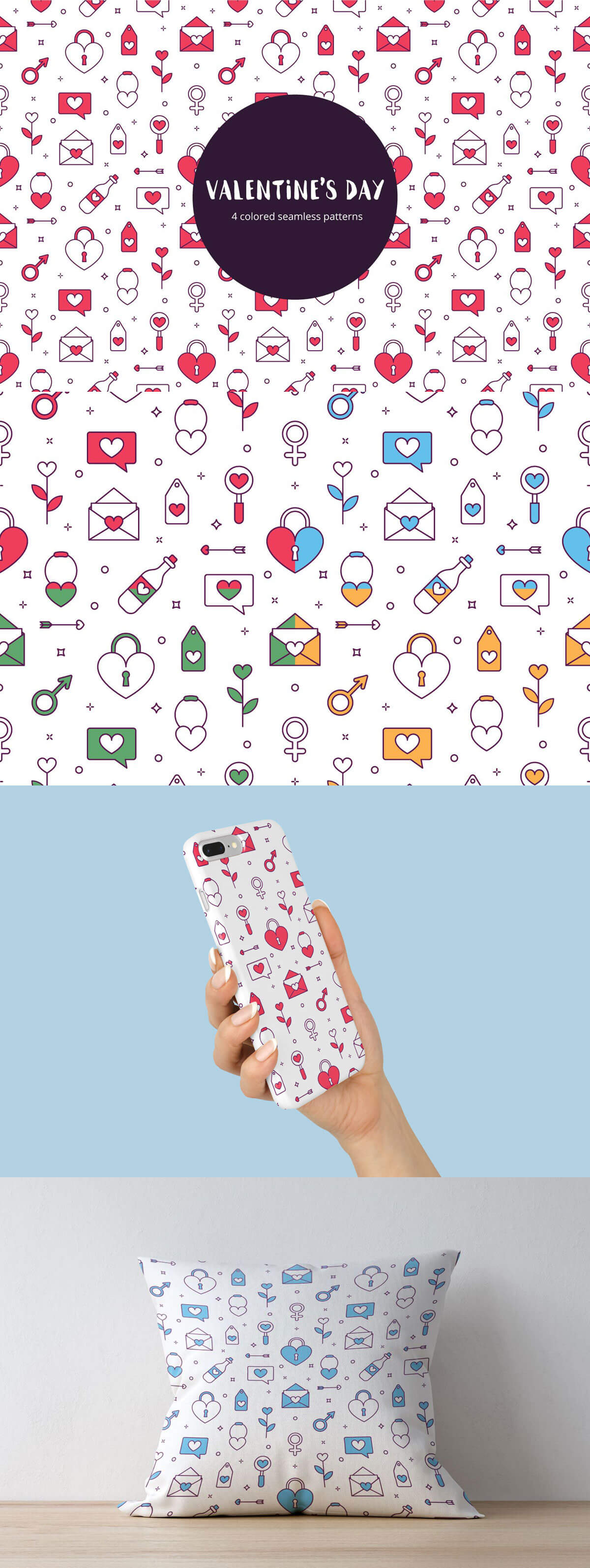 Free Valentines Day Vector Seamless Pattern