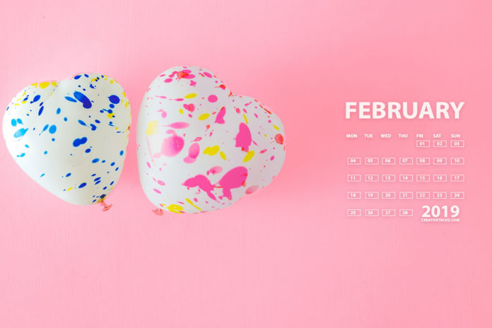 Love February 2019 4K UHD Calendar Wallpaper