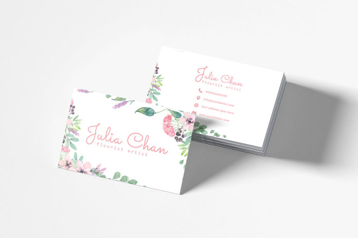 Free Floral Minimalist Business Card Template