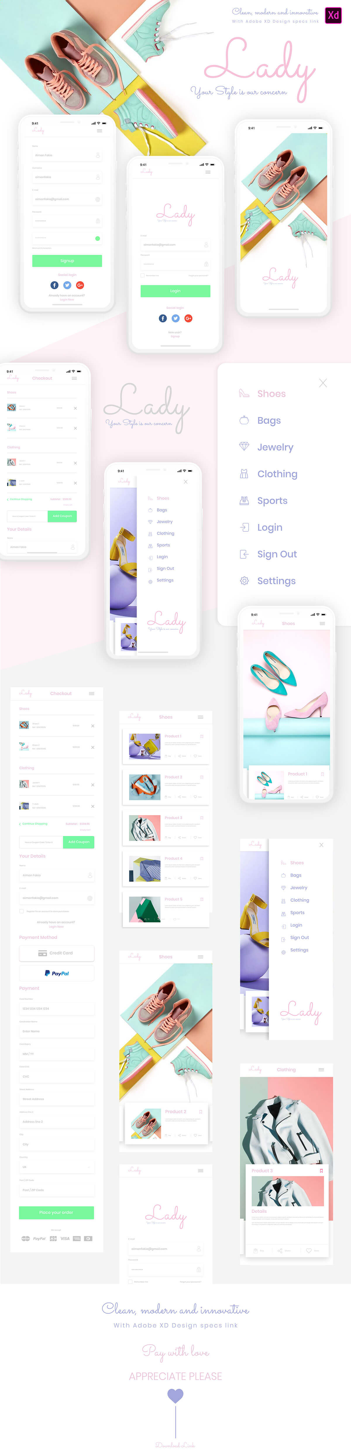 Free Lady Elegant App Design Template