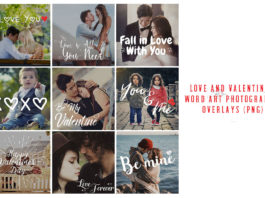 Love and Valentine's Word Art Photography Overlays (PNG)