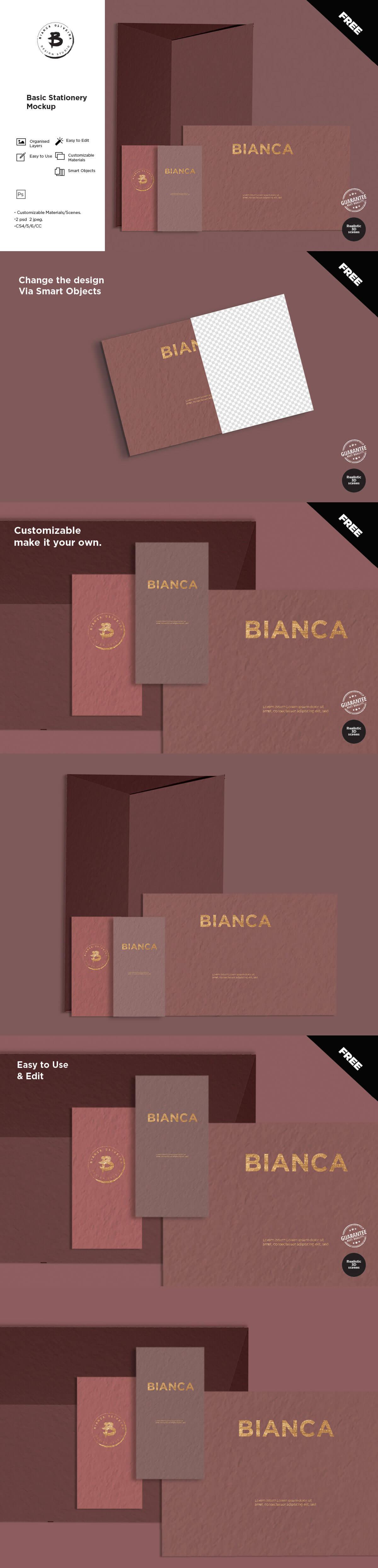 Free Basic Stationery Mockup