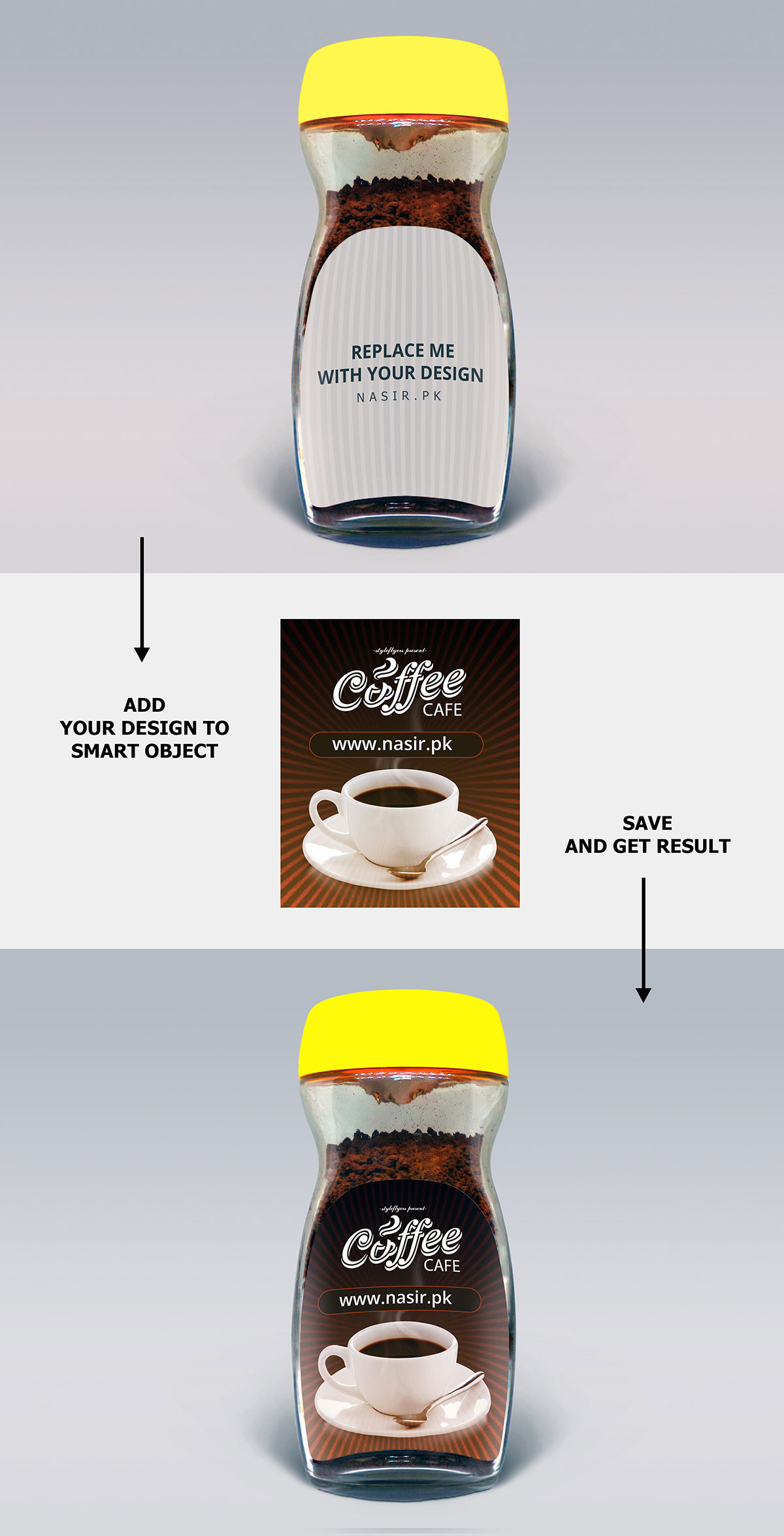 Free Coffee Jar PSD Mockup