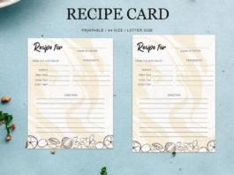 Free Recipe Card Printable Template