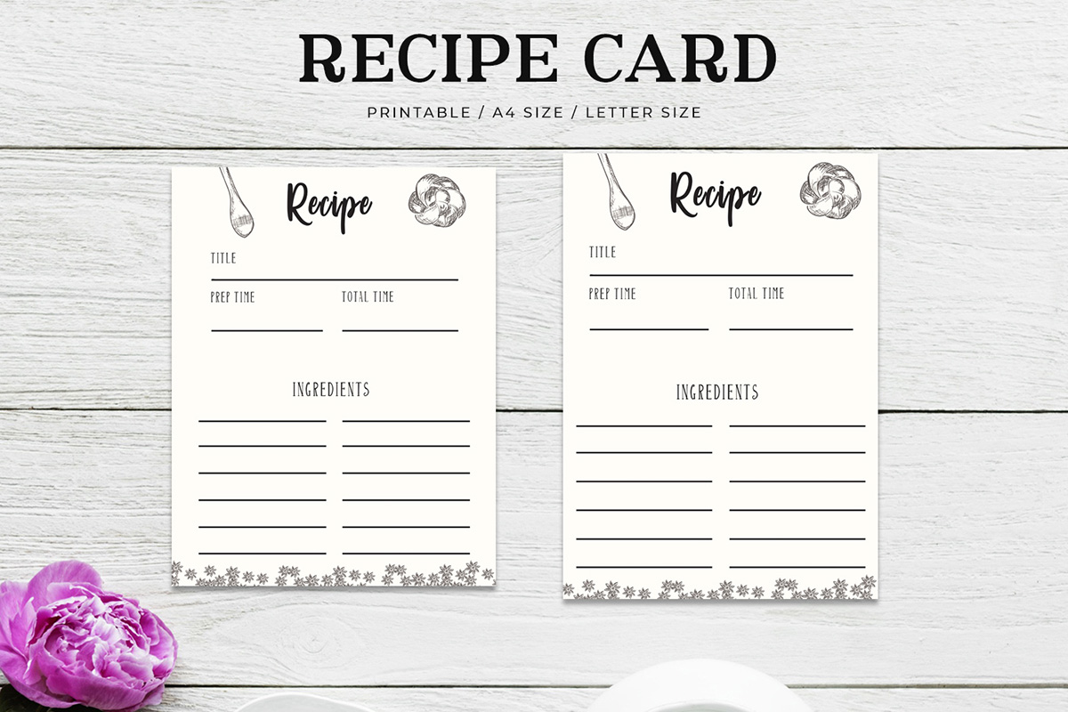 Free Cooking Recipe Card Template RC3