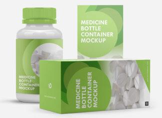 Free Medicine Bottle Container Mockup
