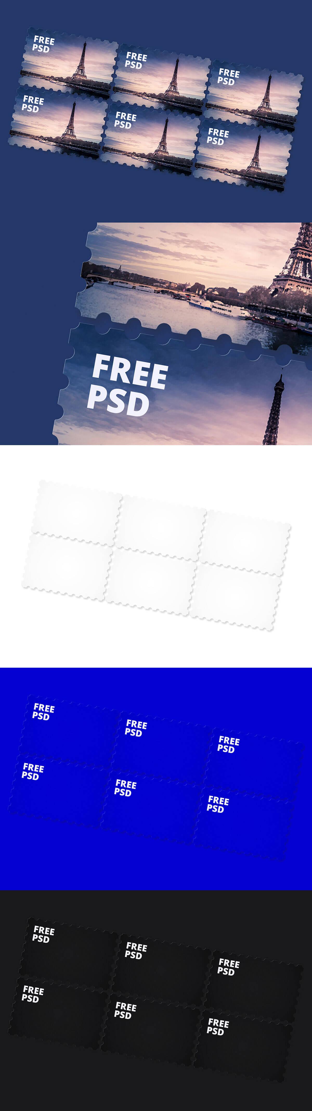 Free Post Stamps Mockup