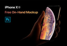 Free iPhone XS On Hand Mockup