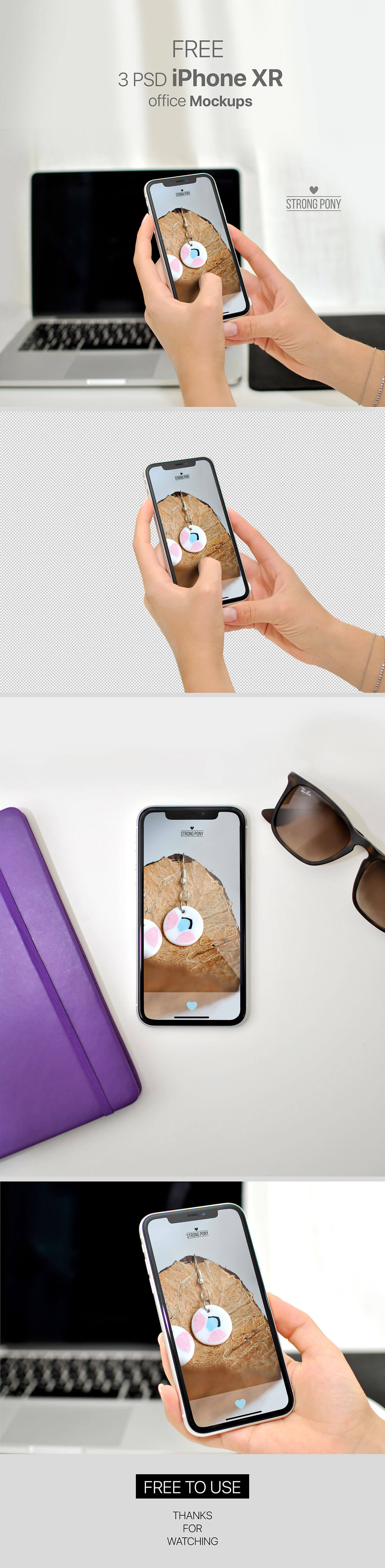Free iPhone XR Office Mockup Pack