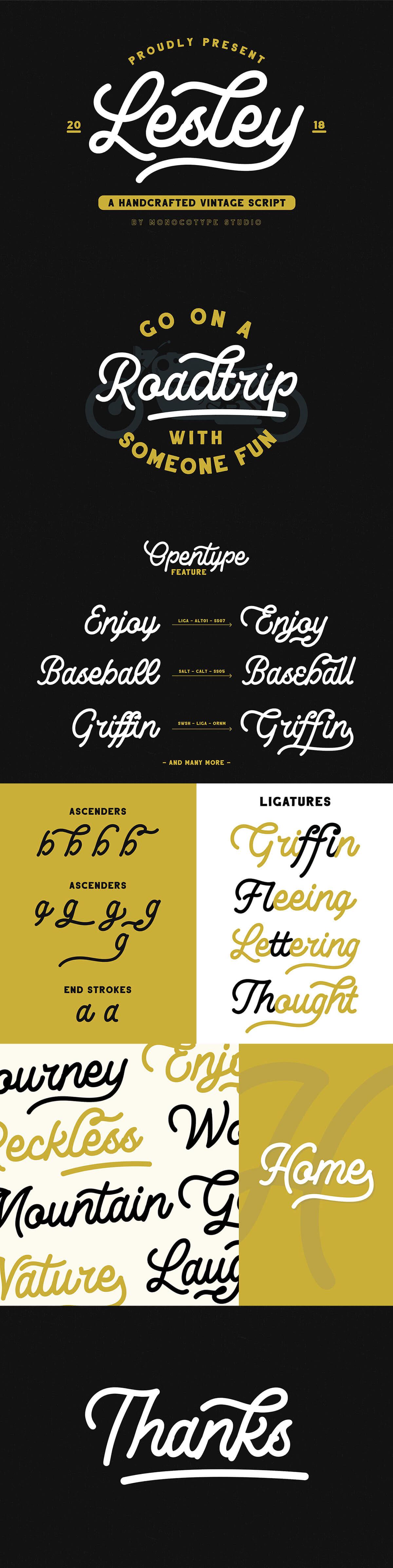 Free Lesley Monoline Script Font