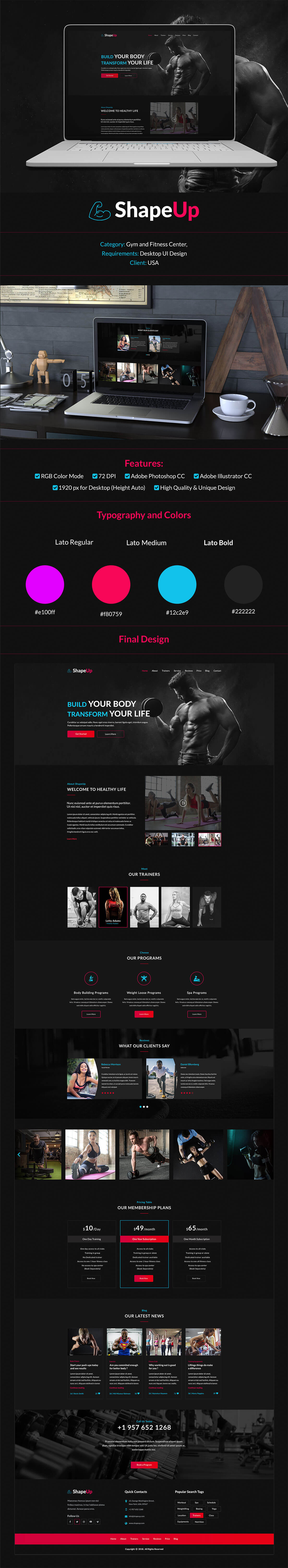 Free ShapeUp Gym Website Template
