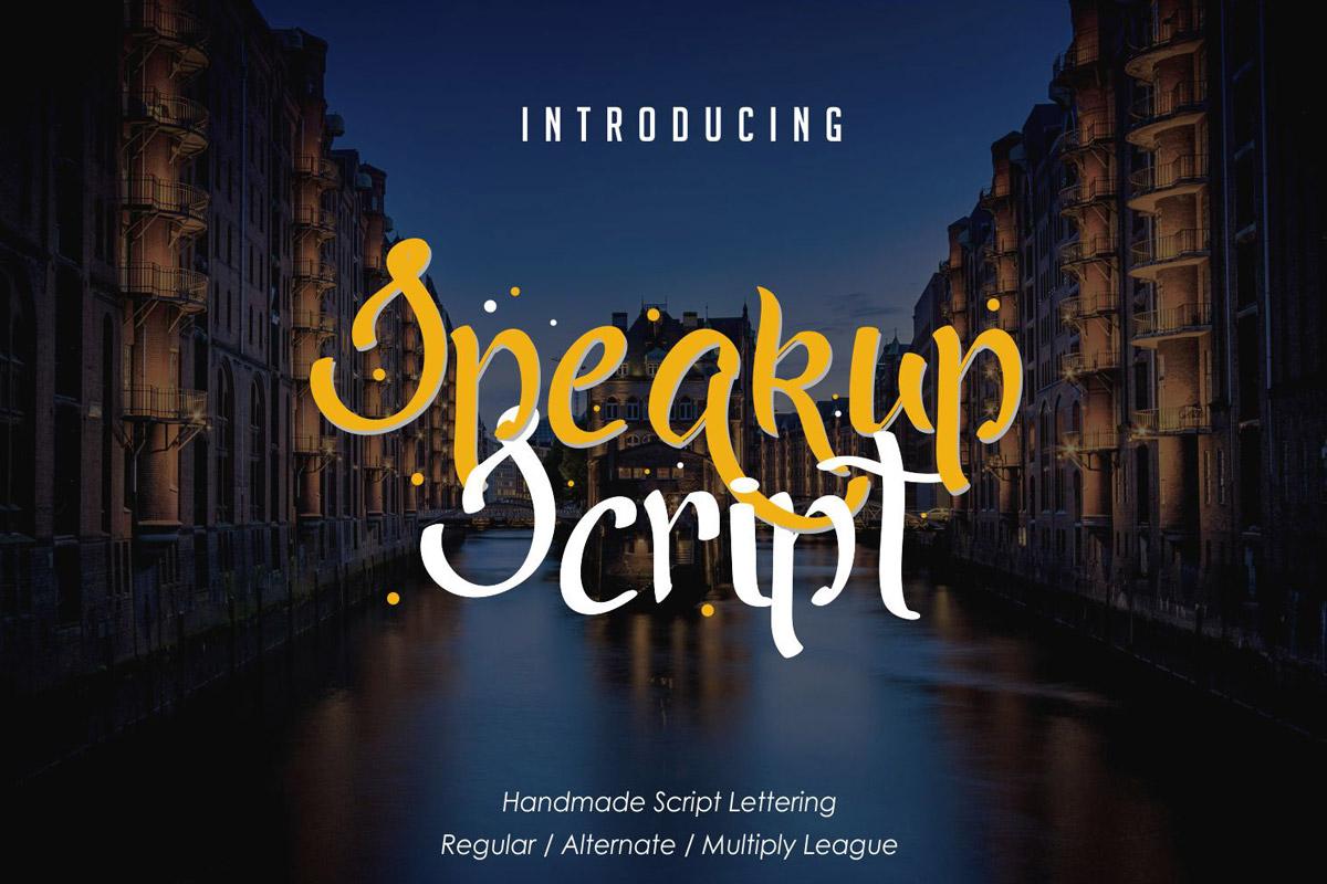 Free Speakup Script Font
