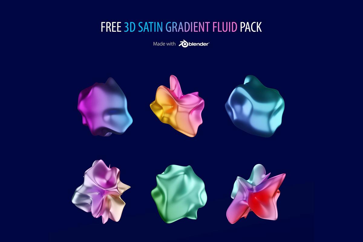 Free 3D Satin Gradient Fluid Pack