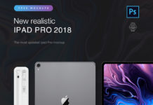 Free Apple iPad Pro 2018 PSD Mockup
