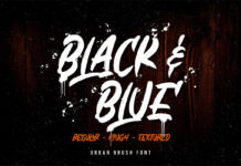 Free Black And Blue Brush Font
