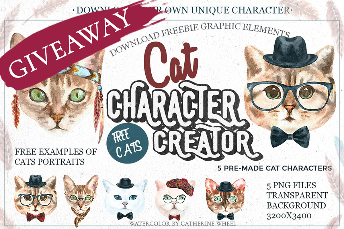 Free Cats Watercolor Elements