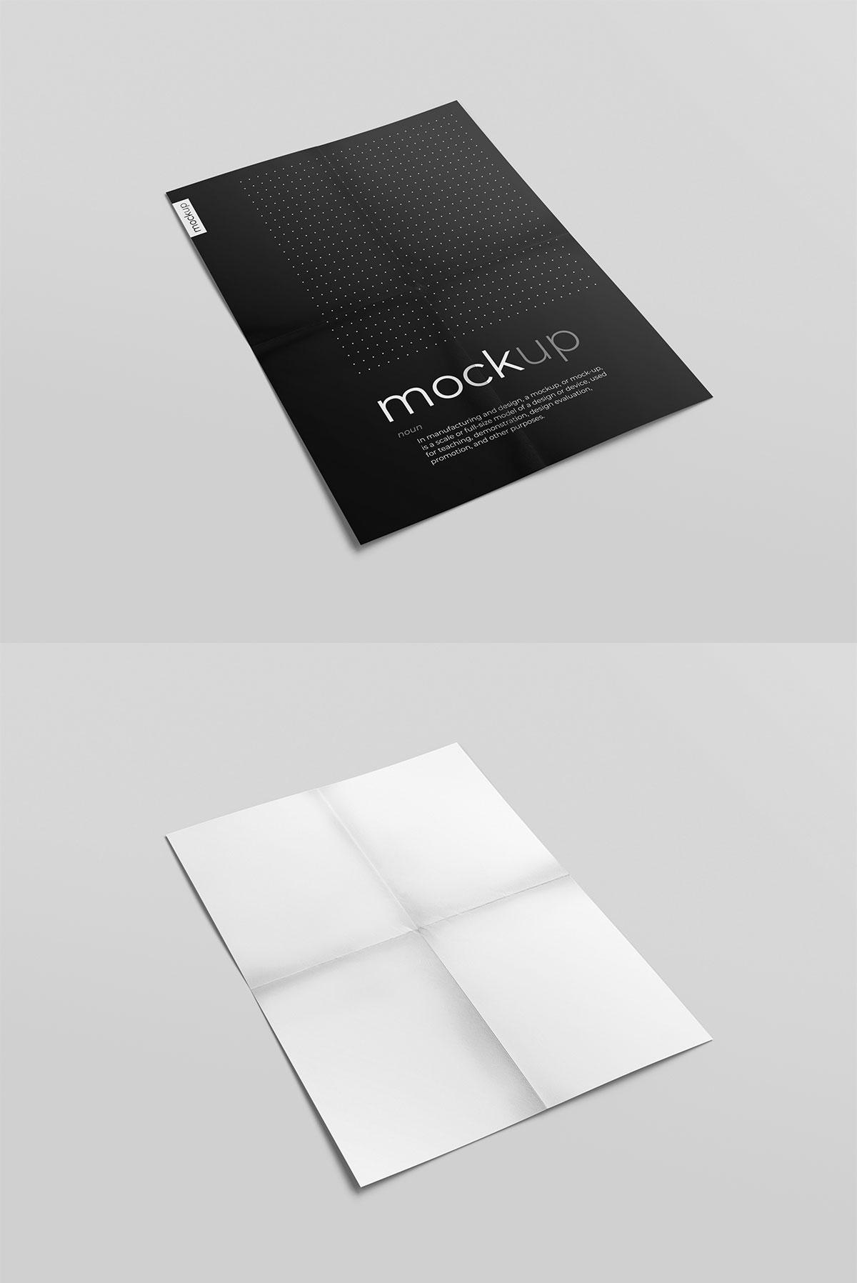 Free Creased Paper Mockup