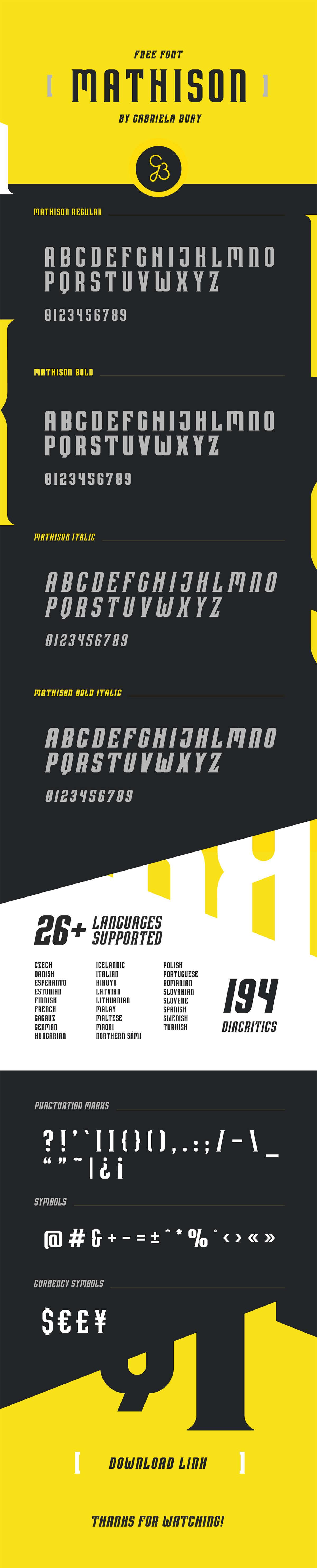 Free Mathison Display Font Family