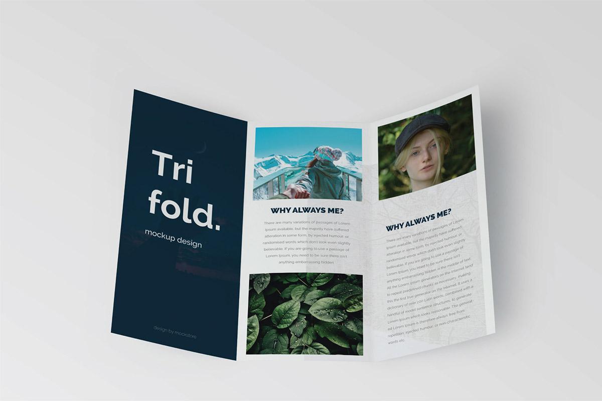 Free Trifold Brochure Mockup