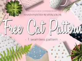 Free Cat Watercolor Pattern