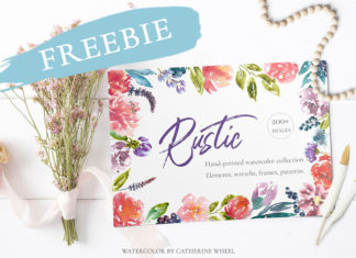 Free Rustic Watercolor Floral Set