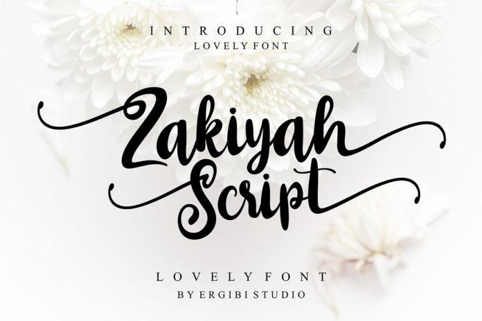 Free Zakiyah Lovely Script Font