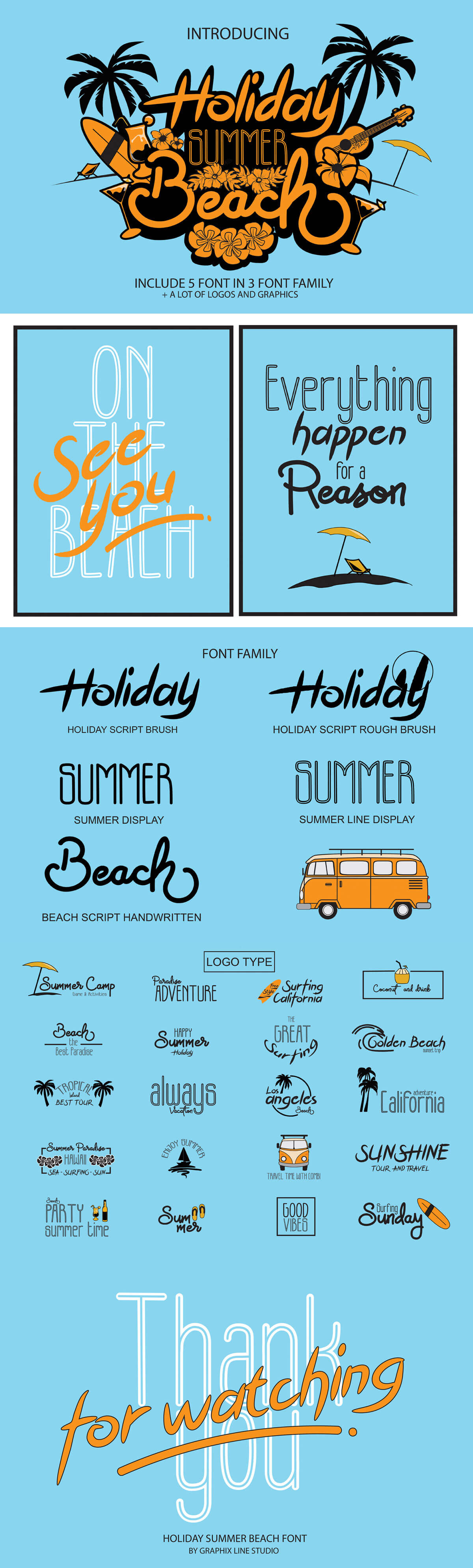 Free Holiday Summer Beach Trio Font Family