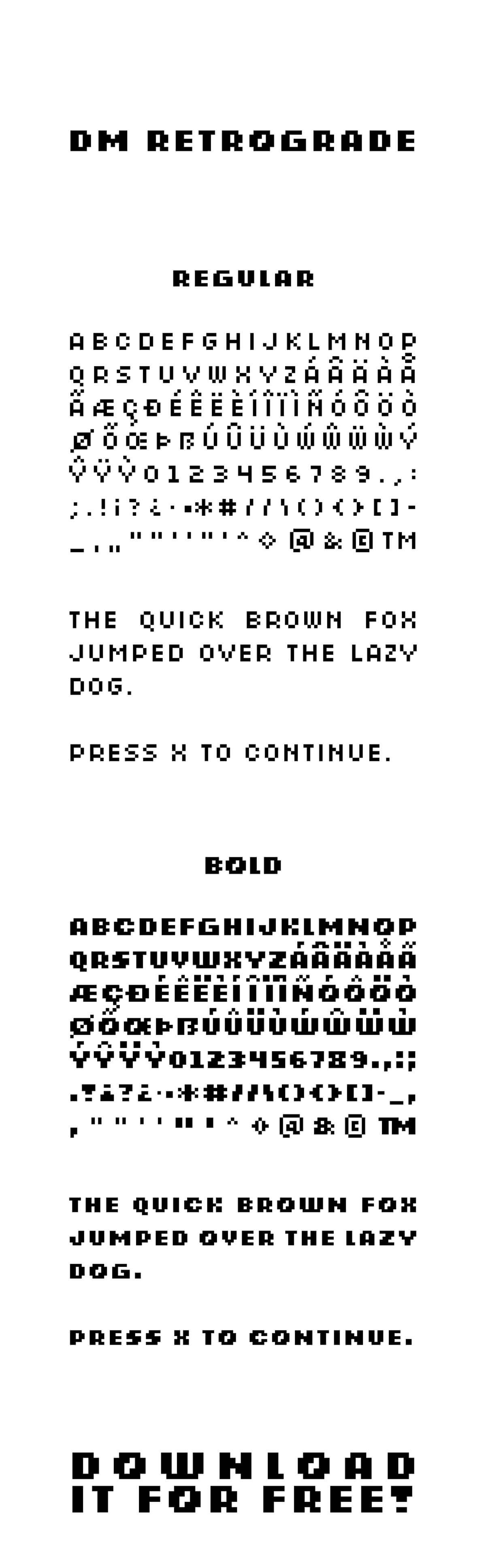 Free Retrograde Pixel Font Family