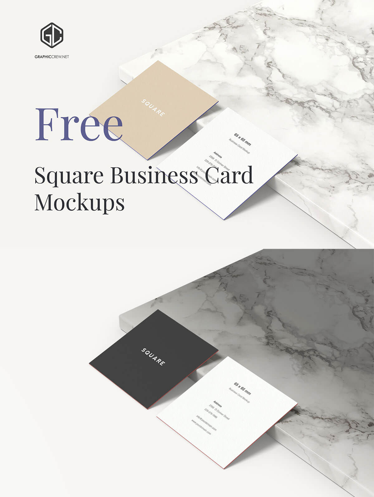 Free Square Business Card Mockup