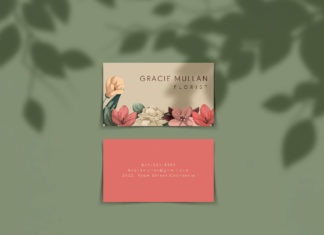 Free Horizontal Business Card Mockup
