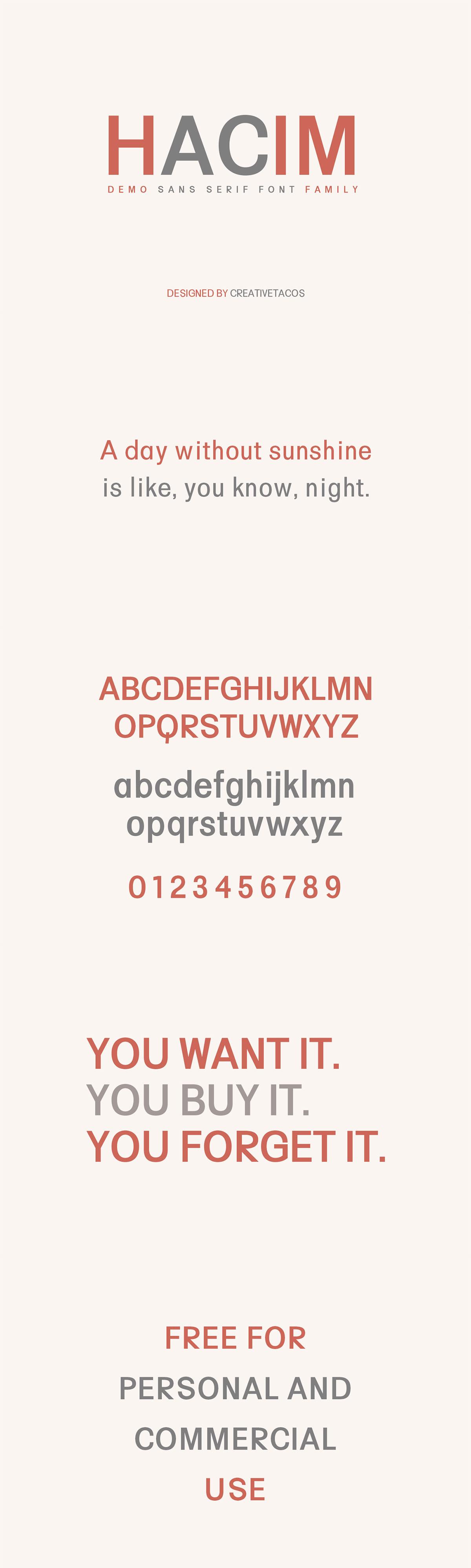 Free Hacim Sans Serif Font Family