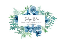 Free Indigo Blue Flowers Clipart Set