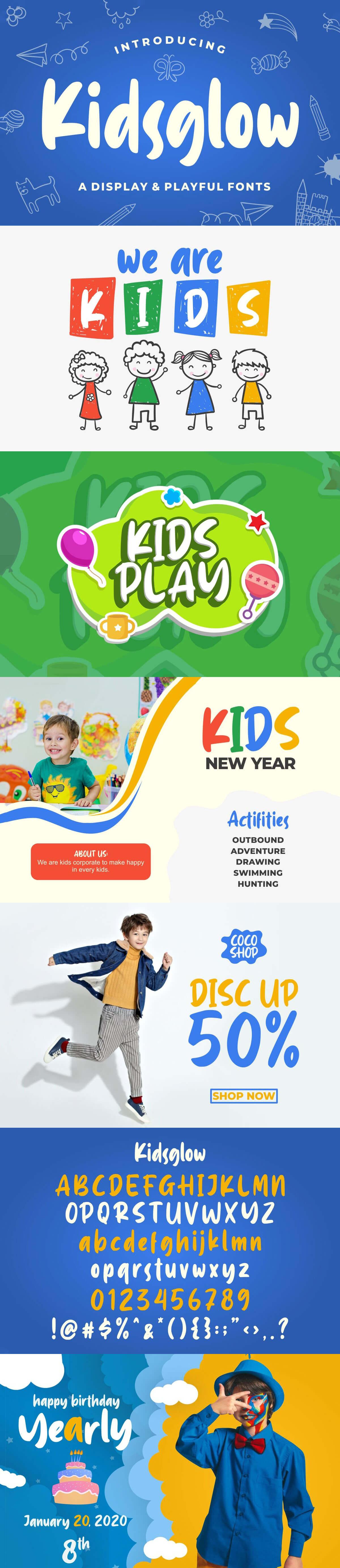 Free Kidsglow Playful Display Font