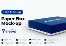 Free Paper Box PSD Mockup