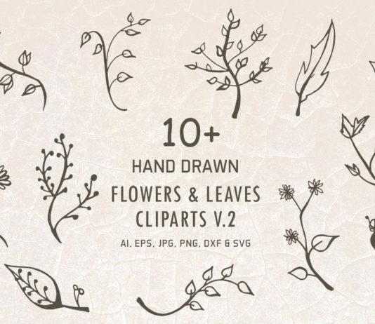 10+ Free Hand Drawn Flowers & Leaves Cliparts V2