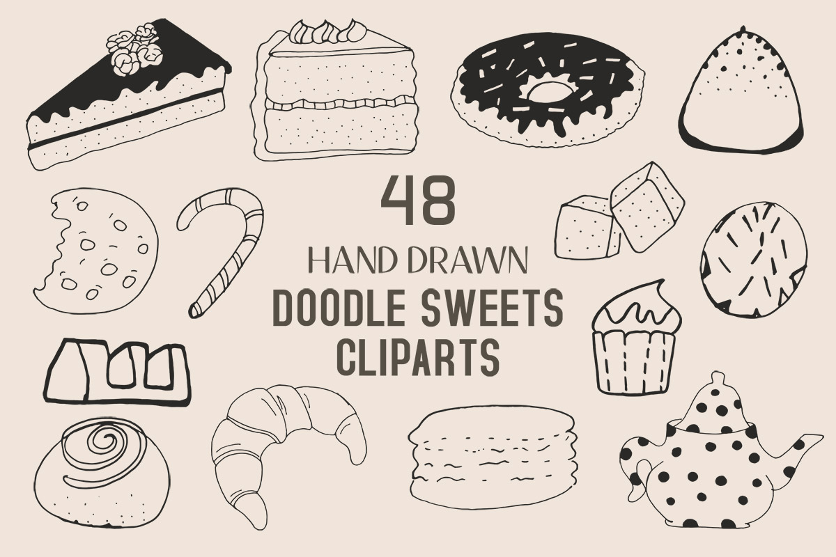 45+ Free Handmade Doodle Sweets Cliparts