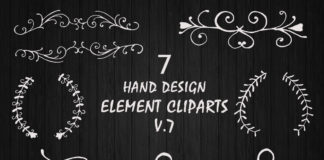 Free Hand Design Element Cliparts V7